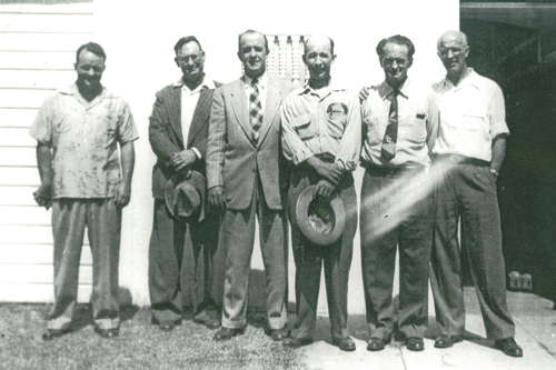 From Left: George Smith, Dick Thompson, Edwin Demack, Ralph Pauly, Frank Cox, Evan Middleton