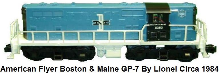 American Flyer 'S' gauge #8350 Boston & Maine GP-7 loco made by Lionel in 1984