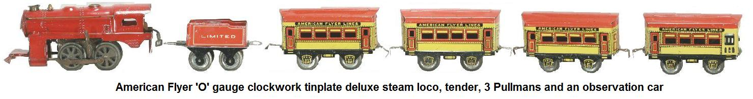 American Flyer 'O' gauge wind-up passenger set with deluxe clockwork steam loco, lithographed Hummer Passenger #515 Coaches and working battery operated headlight
