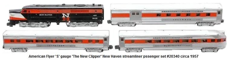 American Flyer 'S' gauge 'The New Clipper' New Haven passenger set #20340, circa 1957 with #497 NH Alco diesel engine #960 combine, #961 coach, and #963 observation car