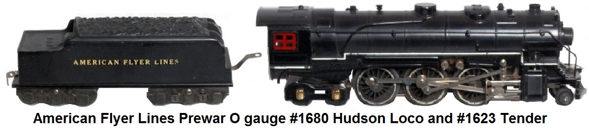 American Flyer Prewar Hudson Engine 1680 w/1620 Tender
