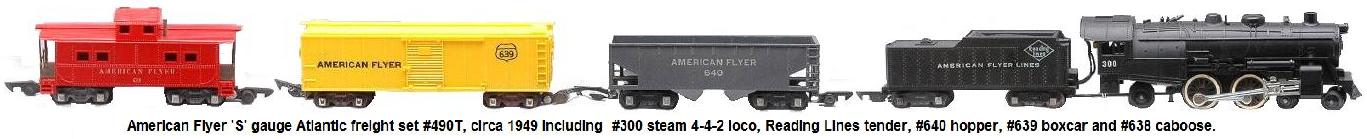 American Flyer 'S' gauge Atlantic freight set no. 490T, circa 1949 including #300 steam 4-4-2 loco, Reading Lines tender, #640 hopper, #639 boxcar and a #638 caboose.