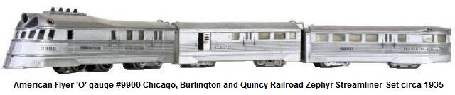 American Flyer 1934 Burlington Zephyr 3 piece set #9900 in 'O' gauge