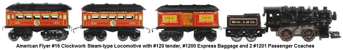American Flyer 'O' gauge #16 clockwork steam-type engine with #120 tender, #1200 Express baggage Car and two #1201 passenger coaches