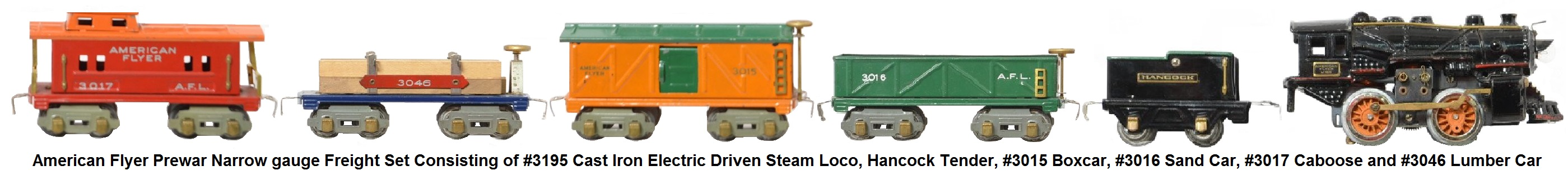 American Flyer 'O' gauge freight set consisting of #3195 cast iron electric steam outline locomotive, Hancock tender, #3015 boxcar, #3016 sand car, #3017 caboose and #3046 lumber car