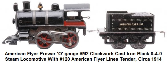 American Flyer 'O' gauge #M2 clockwork cast iron black 0-4-0 steam locomotive with #120 American Flyer Lines tender, circa 1914