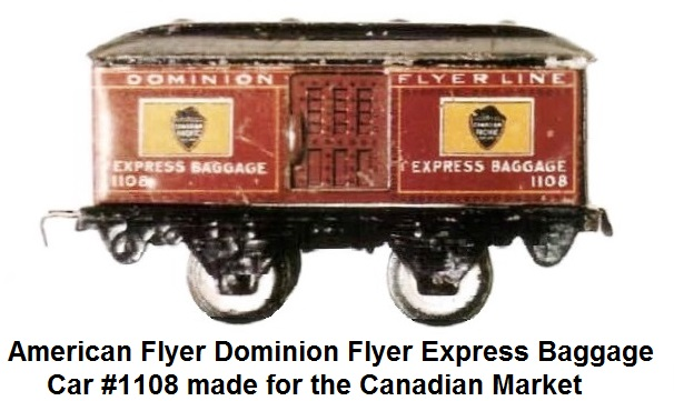 American Flyer 'O' gauge Dominion Flyer Express Baggage #1108 made for the Canadian Market