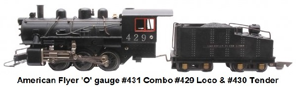 American Flyer 'O' gauge #431 Combo with #429 Loco #430 Tender in 3/16th inch to 1 foot scale