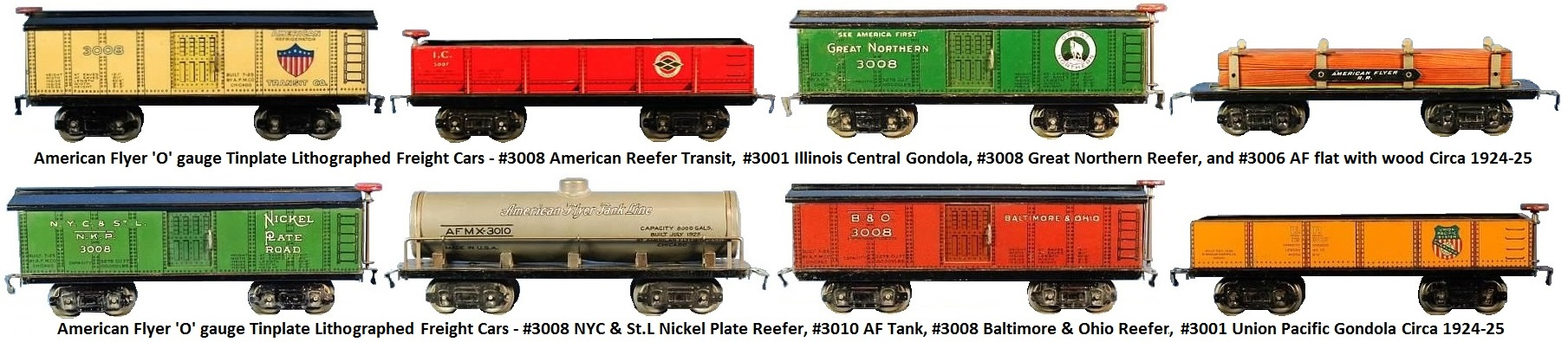 American Flyer 'O' gauge tinplate lithographed 9½ inch freight cars - #3008 Reefers, #3010 Tank car, #3006 flat car and #3001 series gondolas circa 1924-25