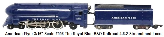 American Flyer the 'Royal Blue' #350 4-6-2 die-cast loco and 8 wheel tender