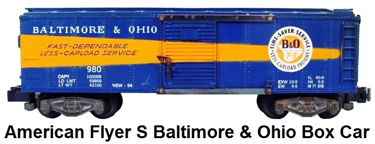 American Flyer S gauge Baltimore and Ohio #980 Box Car
