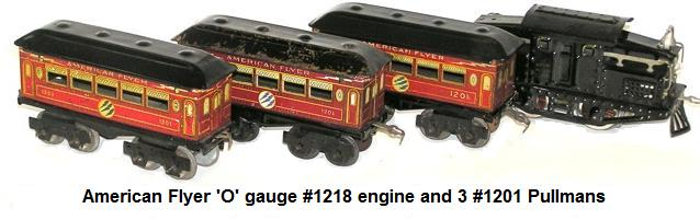 American Flyer No. 1218 Engine and 3 No. 1201 pullmans
