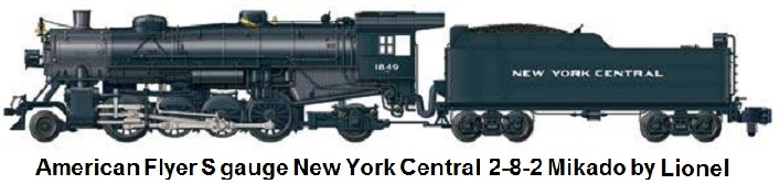 American Flyer S gauge New York Central 2-8-2 Mikado #1849 with TMCC by Lionel