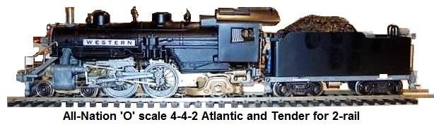 All-Nation 'O' scale 4-4-2 Atlantic and tender for 2-rail
