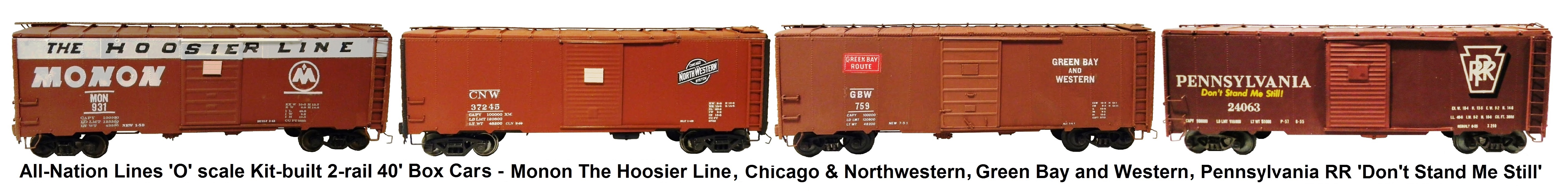 All-Nation 'O' scale 2-rail 40' Steel Box Car Kit-built into Monon The Hoosier Line