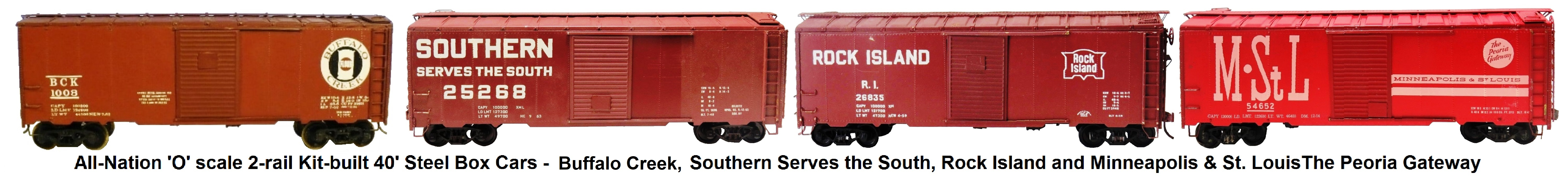 All-Nation 'O' scale 40' Steel Box Cars Kit-built into Pennsylvania RR, Southern Serves The South, Rock Island, Minneapolis & St. Louis The Peoria Gateway Liveries