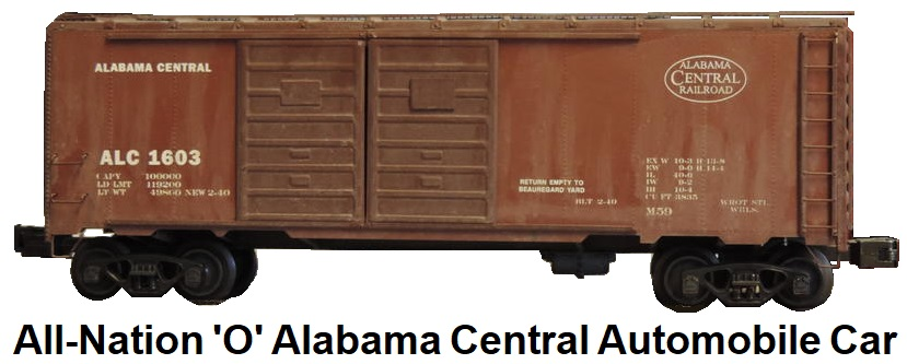 All-Nation 'O' scale Kit-built 2-rail wood-structure with metal ends and sides Alabama Central Double Door Automobile car