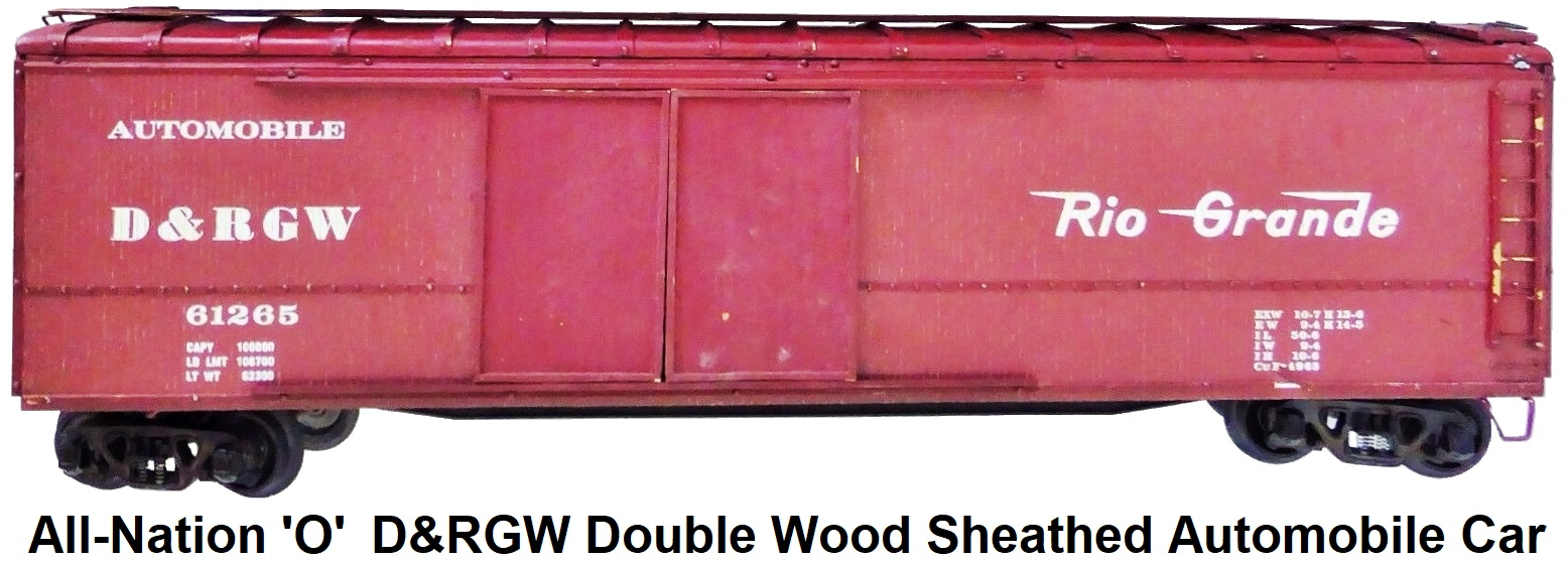 All-Nation 'O' scale Kit-built 2-rail D&RGW Rio Grande #61265 Double Door Wood Sheathed Automobile car