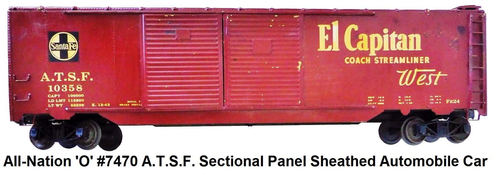 All-Nation 'O' scale Kit-built 2-rail A.T.S.F. El Capitan #10358 Sectional Panel Sheathed Automobile car