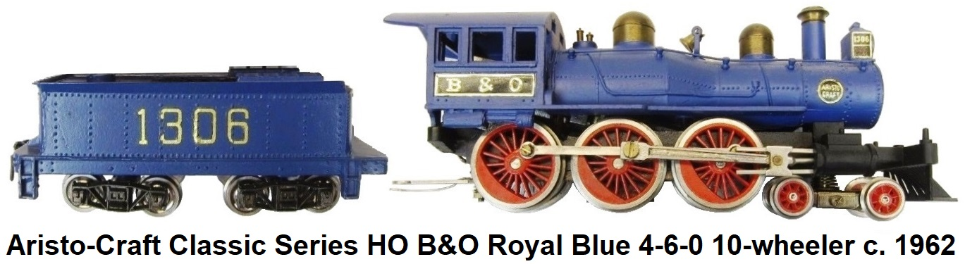 Aristo-Craft HO gauge Royal Blue 4-6-0 Steam locomotive and 8-wheel tender circa 1950's