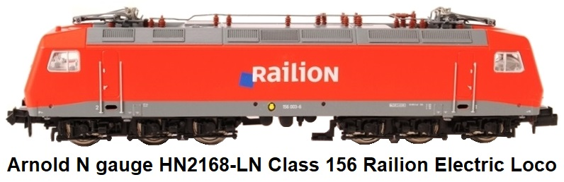 Arnold N gauge HN2168-LN Class 156 Electric Locomotive in Railion Livery of the German DB Epoch V