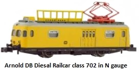 Arnold DB, diesel railcar class 702 used for catenary maintenance N gauge HN2091
