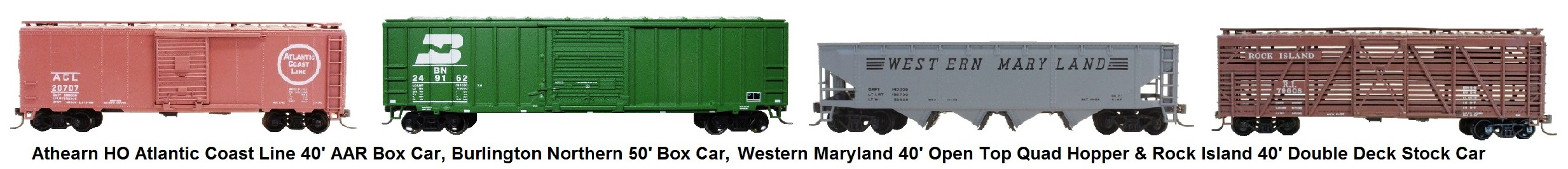 Athearn HO scale freight cars - Atlantic Coast Line 40' AAR Box Car, H.J. Heinz Pickle Car, Western Matyland 40' Open Top Quad Hopper and Rock Island Double Deck Stock Car