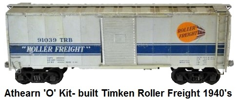 Athearn 'O' scale Kit-built Wood With Metal Skin Timken Roller Freight circa 1940's
