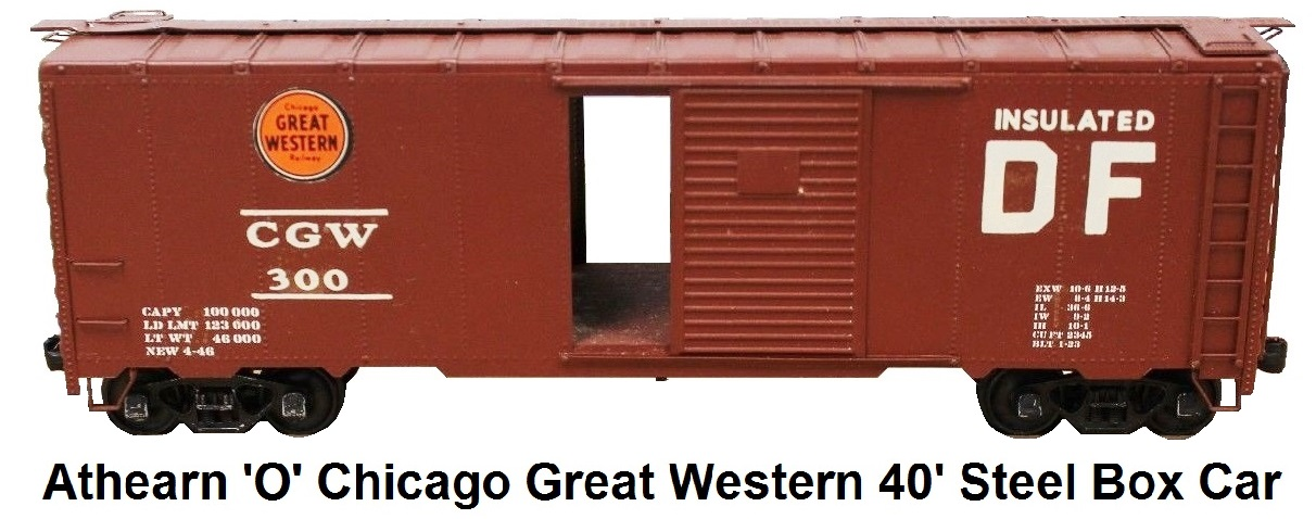 Athearn 'O' scale Kit-built 2-rail CGW Chicago Great Western Wood With Metal Skin 40' steel box car