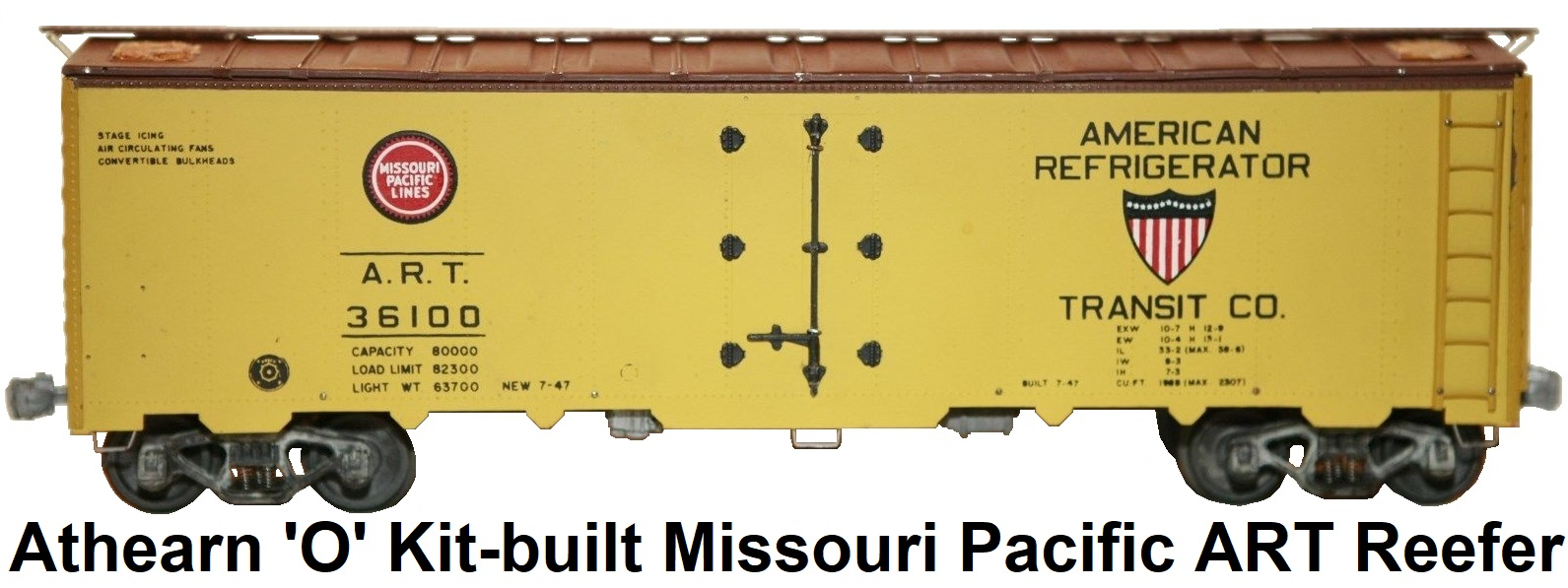 Athearn 'O' scale Kit-built 2-rail Missouri Pacific Lines American Refrigerator Transit Co. Reefer #36100