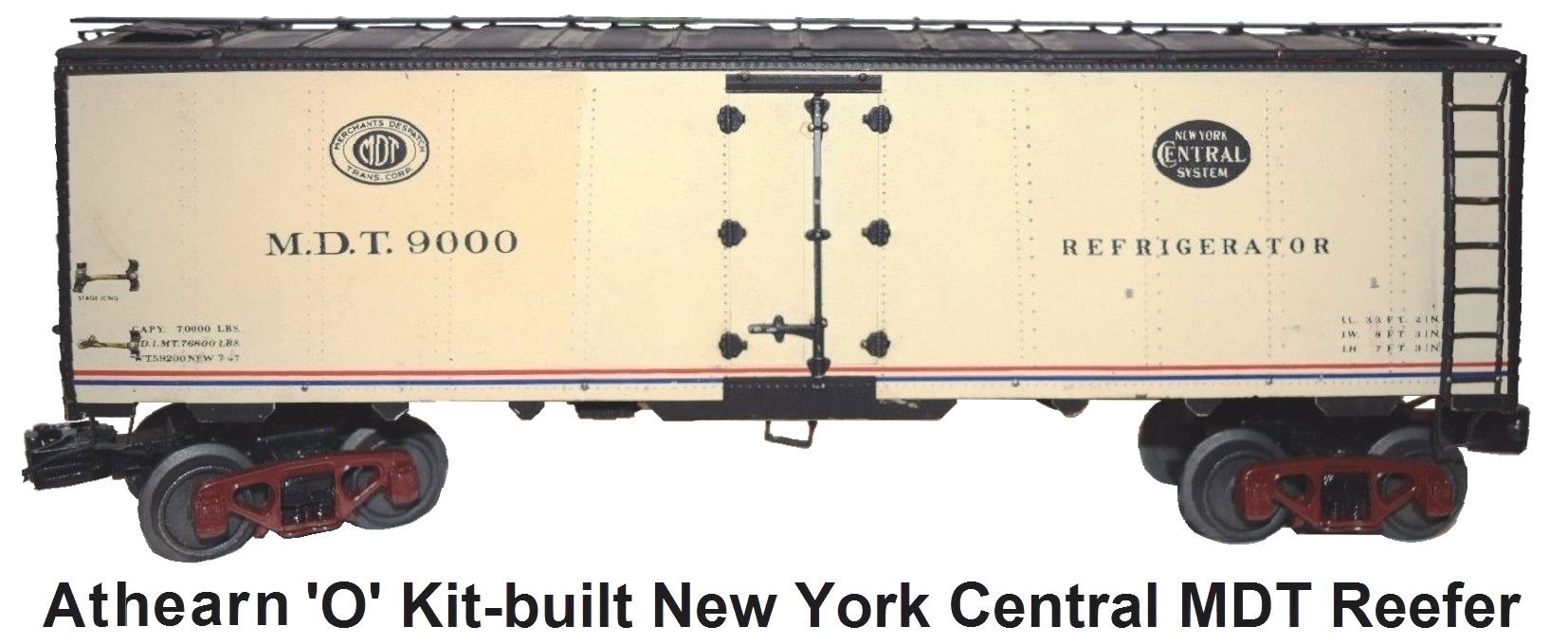 Athearn 'O' scale Kit-built 2-rail NYC 40' Steel Reefer