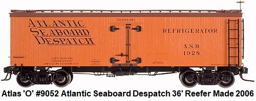 Atlas 'O' scale Atlantic Seaboard Despatch 36' Wood Side Reefer for 2-rail #9052 circa 2006