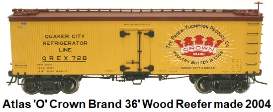Atlas 'O' scale Quaker City Line Crown Brand 36' Wood Side Reefer for 3-rail #8033 circa 2004