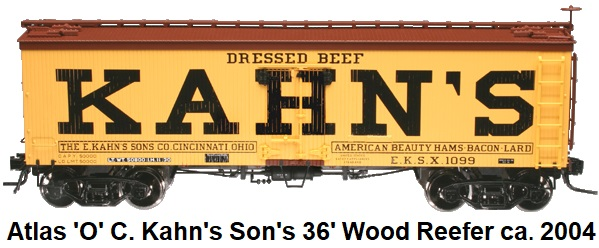 Atlas 'O' scale Kahn's Dressed Beef 36' Wood side Reefer for 2-rail #9044 circa 2004