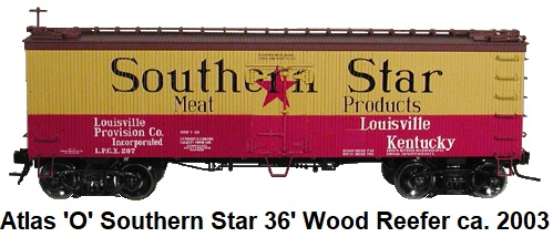 Atlas 'O' scale Southern Star Meats 36' Woodside Refrigerator Car #8019 for 3-rail circa 2003