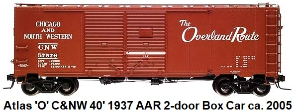 Atlas 'O' Chicago & North Western The Overland Route 40' 1937 AAR Double Door Box Car #9707-2 circa 2005
