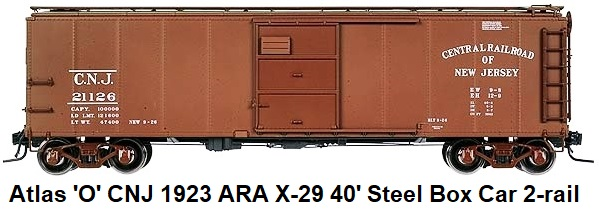 Atlas 'O' Central RR of New Jersey 1923 ARA X-29 40' Steel Box Car #9752-4 for 2-rail