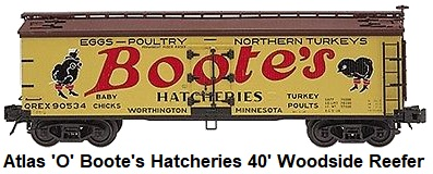 Atlas 'O' scale Boote's Hatcheries 40' Woodside Reefer Car #6732 for 3-rail circa 2002