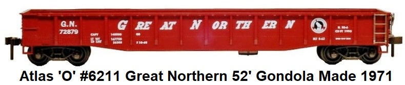 Atlas 'O' #6211 Great Northern 52' Gondola from 1972