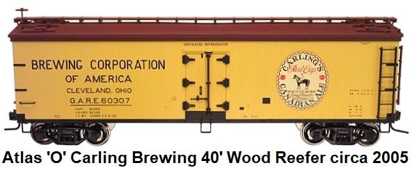 Atlas 'O' scale Carling Brewing 40' Wood Side Reefer #9144 for 2-rail circa 2005