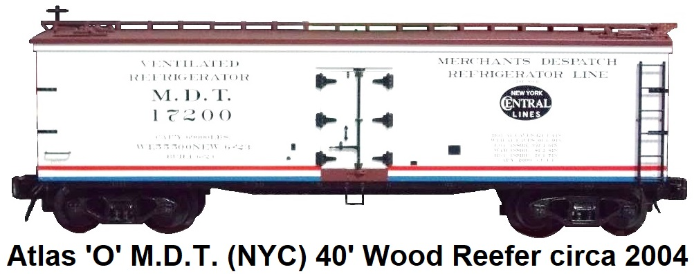Atlas 'O' scale M.D.T. (NYC) 40' Wood Side Reefer #8153 for 3-rail circa 2004