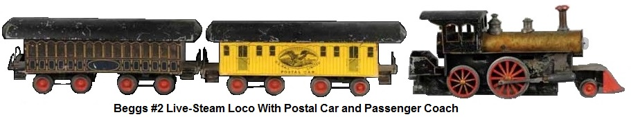 Beggs #2 live-steam 2-4-0 loco with strawboard baggage/postal car and passenger coach in 1 gauge