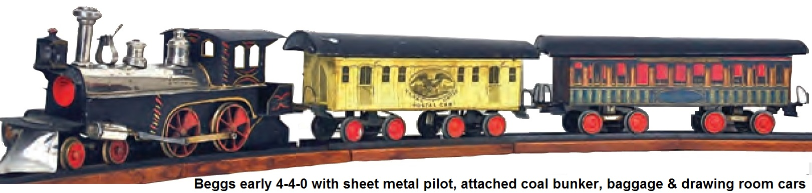 Beggs early 4-4-0 Live-Steam loco with sheet metal pilot, attached coal bunker, paper litho baggage and drawing room cars