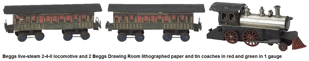 Beggs live-steam locomotive and 2 lithographed paper and tin coaches Beggs Drawing Room Car in red and green in 1 gauge
