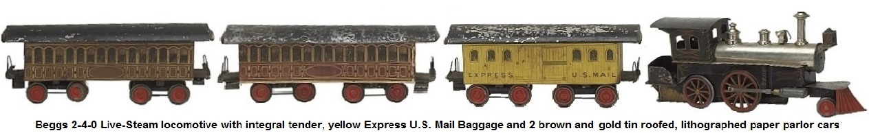 Beggs live steam locomotive with integral tender, 3 lithographed paper cars with tin roofs Express U.S. Mail and 2 parlor cars in brown and gold