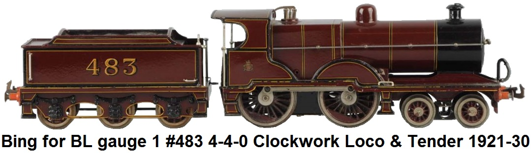 Bing for Bassett-Lowke gauge 1 4-4-0 Compound clockwork loco and 6-wheel tender circa 1921-1930