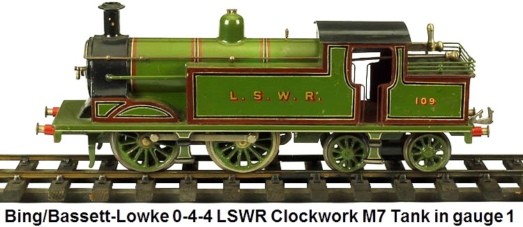Bing for Bassett-Lowke 1 gauge London & SouthWest Railroad 0-4-4 Clockwork M7 Tank engine #109
