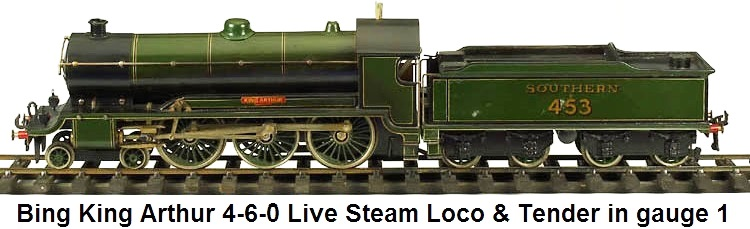 Bing King Arthur 4-6-0 Steam Loco & Tender in 1 gauge