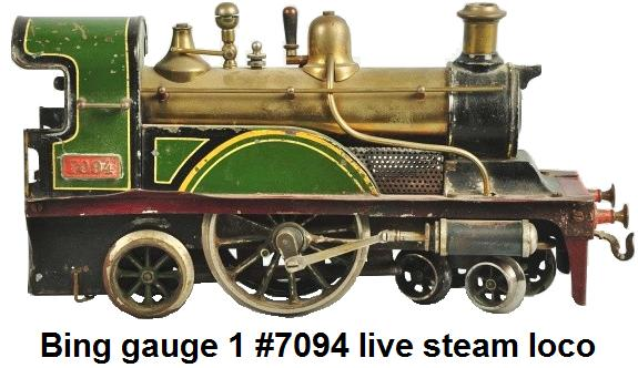 Bing gauge 1 No. 7094 Live Steam Train Locomotive