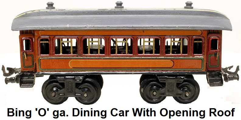 Bing 'O' gauge Model Railroad Dining Car with Opening Roof